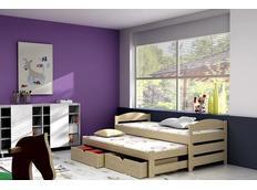 Dětská postel s výsuvnou přistýlkou z MASIVU se šuplíky - DPV009