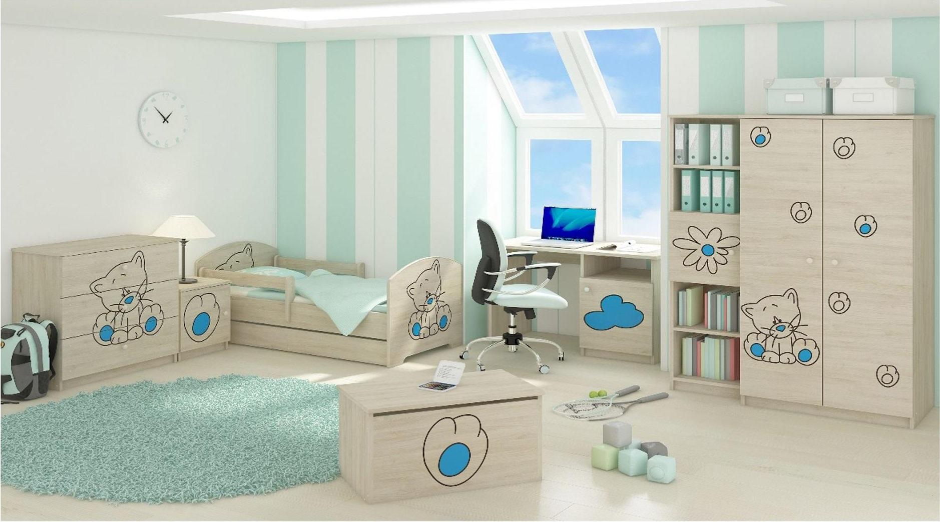 Dětská pokojová sestava s výřezem KOČIČKA - modrá