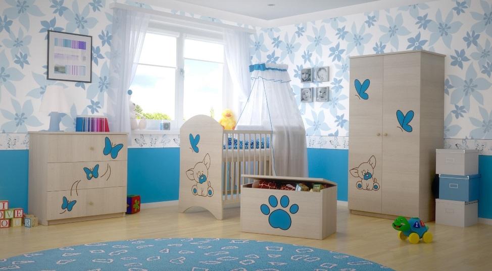 Dětská pokojová sestava s výřezem PEJSEK - modrá