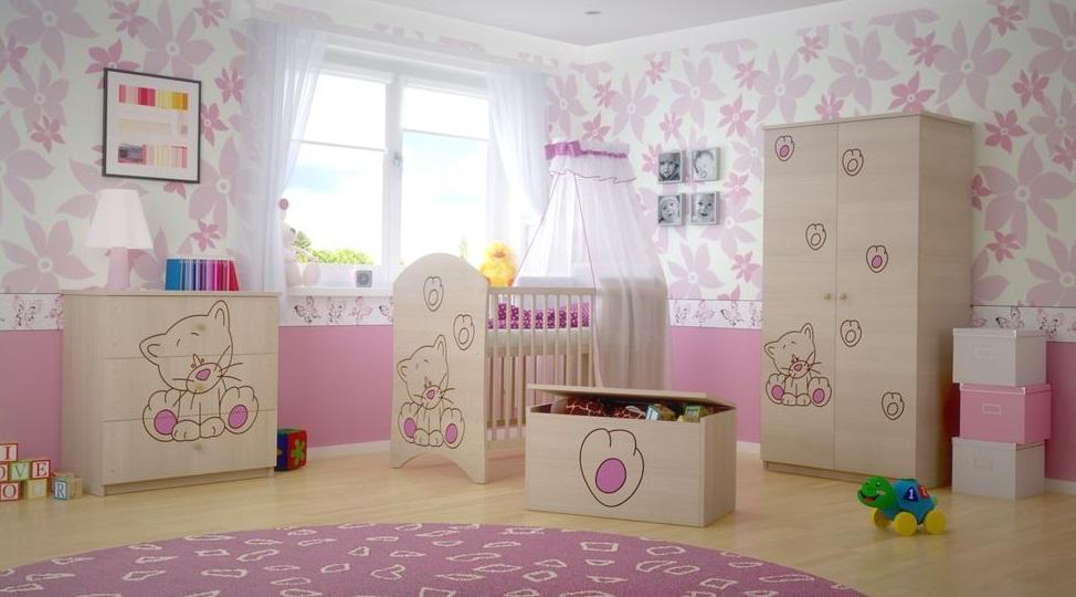 Dětská pokojová sestava s výřezem KOČIČKA - růžová