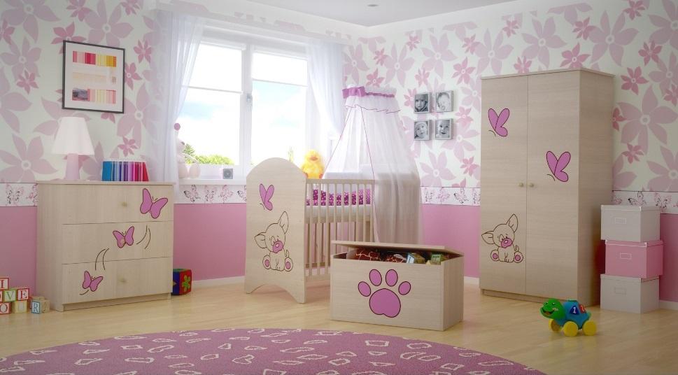 Dětská pokojová sestava s výřezem PEJSEK - růžová