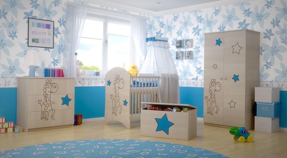 Dětská pokojová sestava s výřezem ŽIRAFA - modrá