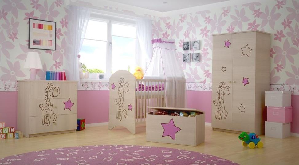 Dětská pokojová sestava s výřezem ŽIRAFA - růžová