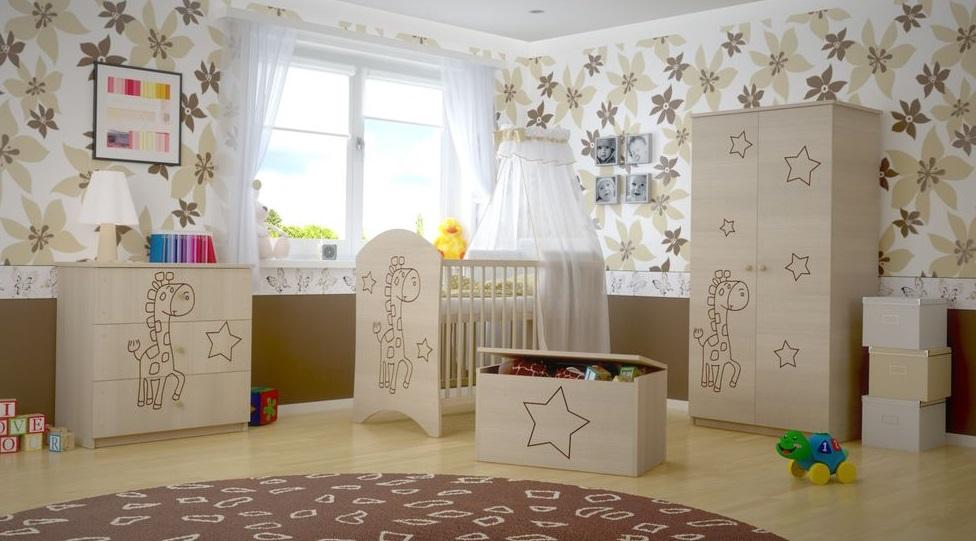 Dětská pokojová sestava s výřezem ŽIRAFA - přírodní