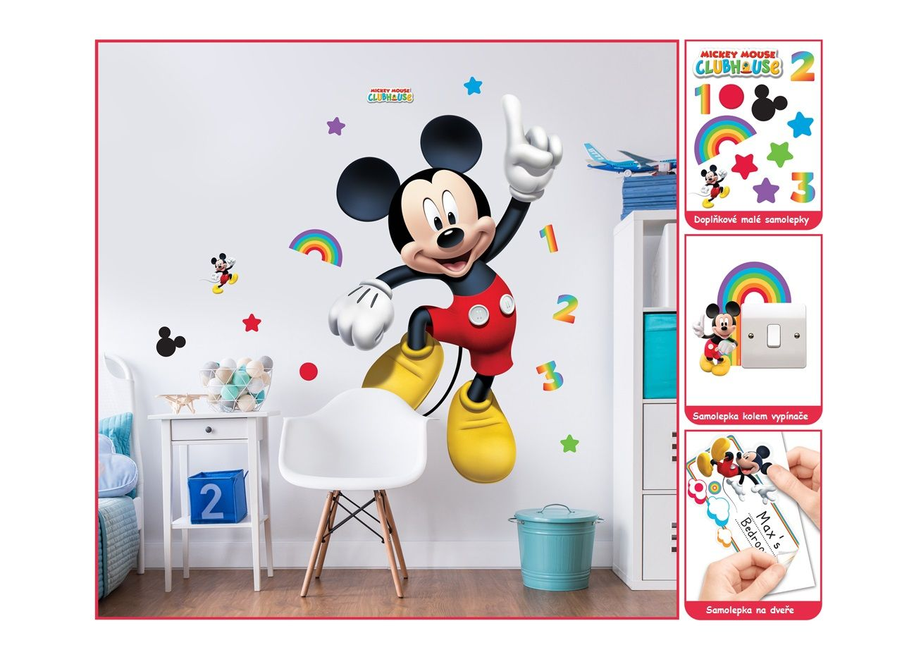 velk d tsk samolepky disney mickey mouse. Black Bedroom Furniture Sets. Home Design Ideas