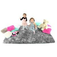 Plyšový dětský koberec ŠEDÝ