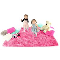 Plyšový dětský koberec TMAVĚ-RŮŽOVÝ