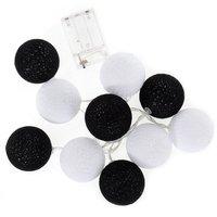 Bavlněné svítící kuličky LED 10 ks - černobílé