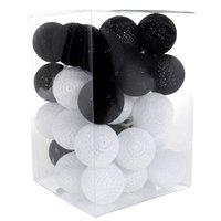 Bavlněné svítící kuličky LED 35 ks - černobílé