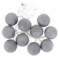 Bavlněné svítící kuličky LED 10 ks - šedé