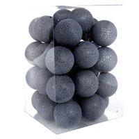 Bavlněné svítící kuličky LED 35 ks - tmavě šedé