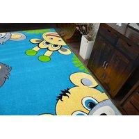Dětský koberec FUNKY TOP TIG zvířátka - modrý