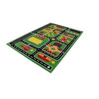 Dětský koberec Městečko - zelený
