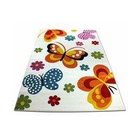 Dětský koberec Barevní motýlci - krémový