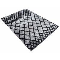 Kusový koberec SHAGGY TOP - mřížka - šedý