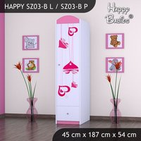 Dětská skříň - TYP 3B - růžová