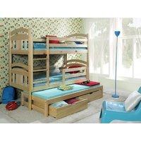 Dětská patrová postel s výsuvnou přistýlkou z MASIVU se šuplíky - PV006
