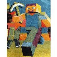 Dětský koberec Panáček Minecraft - modrý
