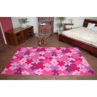 Dětský koberec PUZZLE růžový