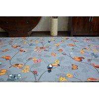 Dětský koberec VESELÁ ZVÍŘÁTKA - šedý