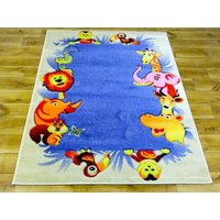 Dětský koberec ZOO modrý