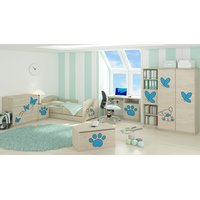 ***SKLADEM*** Dětská postel s výřezem PEJSEK - modrá 140x70 cm + matrace ZDARMA!