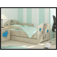 Dětská postel s výřezem ŽIRAFA - modrá 140x70 cm + matrace ZDARMA!