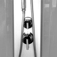 Sprchový box, čtvercový, 90 cm, profily satin, sklo Point, SMC vanička, se stříškou