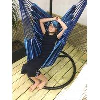 Závěsné houpací křeslo KARIBIK  130x100 cm - modré