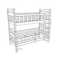 SKLADEM: Dětská patrová postel z MASIVU 180x80cm bez šuplíku - PP005
