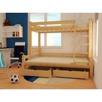 Dětská patrová postel s rozšířeným spodním lůžkem z MASIVU 200x90 cm se šuplíky PAVLÍNA