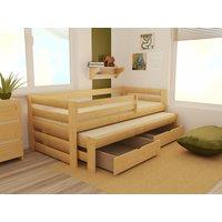 Dětská postel s výsuvnou přistýlkou z MASIVU 200x90cm SE ŠUPLÍKY - DPV007