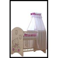SKLADEM: Dětská postýlka s výřezem KOČIČKA - růžová 120x60 cm