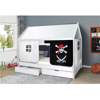 Dětská domečková postel KIDS piráti bíločerní - BÍLÁ 200x90 cm
