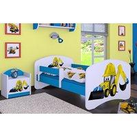 SKLADEM: Dětská postel bez šuplíku 140x70cm BAGR - bílá/modrá