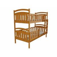 SKLADEM: Dětská patrová postel z MASIVU 200x80cm se šuplíky - PP007 - moření olše