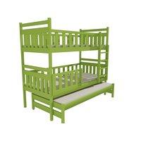 SKLADEM: Dětská patrová postel s přistýlkou z MASIVU 200x80cm SE ŠUPLÍKY - PPV008 - zelená