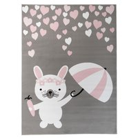 Dětský koberec PASTEL králíček - šedý - 120x170 cm
