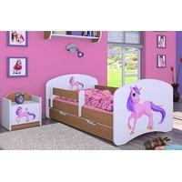 SKLADEM: Dětská postel se šuplíkem 180x90cm JEDNOROŽEC - oranžovo/bílá