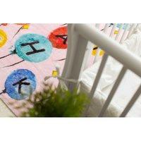 Dětský plyšový koberec GAME balónky s písmenky - růžový