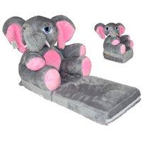 Dětské plyšové rozkládací křesílko SLON - růžový