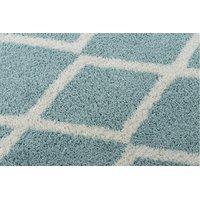 Kusový koberec SHAGGY BARBER troik - modrý/bílý