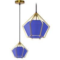 Stropní svítidlo BLUE DIAMOND - kov/sklo - zlaté/modré