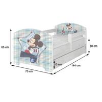 SKLADEM: Dětská postel se šuplíkem Disney - MYŠKA MINNIE 140x70 cm - matrace kokos/molitan