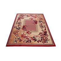 Kusový koberec ATLAS flora - tmavě béžový/červený
