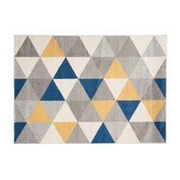 Kusový koberec AZUR trojúhelníky typ A - šedý/žlutý/modrý