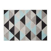 Kusový koberec AZUR trojúhelníky typ E - černý/šedý/tyrkysový