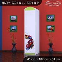 SKLADEM: Dětská skříň MAŠINKA - TYP 1A - bílá/zelená - pravé otevírání