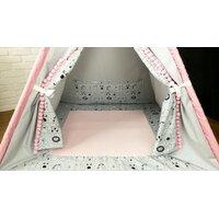 Dětský stan TEEPEE (TÝPÍ) LUXURY s doplňky - LAMA A KAMARÁDI - šedo/růžový