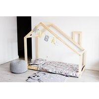 SKLADEM: Dětská postel z masivu DOMEČEK S KOMÍNEM 180x90 cm + zábrany